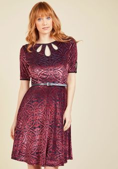 Present the Event Velvet Dress in Burgundy.#modcloth