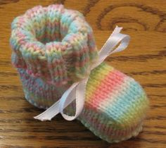 Best booties pattern ever. And it's seamless. I used size 6 needles and worsted weight yarn and got a larger bootie.