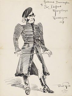 """Rutland Barrington as Sir Despard (Act One) in the original DOC production of """"Ruddigore"""" at the Savoy Theater in 1887; pen and ink drawing by Fred Roe; signed and dated 1908 (""""1908"""" date possibly added at a different time than the signature?). Fron the National Portrait Gallery; estate of painter Fred Roe."""