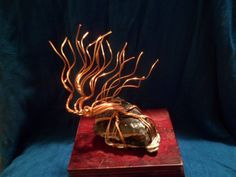 """This is a Copper Windswept Tree of Life sculpture based on a Mahogony Obsidian Piece with Aluminum wire base, the tree is approx. 6 inches tall, 5 inches long and 3-4 inches wide, The stone base is approx. 3""""x2.5""""x1"""" (LXWXH). Shipping is Parcel post through USPS. Pick up Option is available only to those living in Oregon! Please contact our shop if you are able to pick this item up locally to waive shipping fees."""