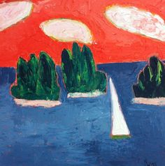 Landscapes in Private Collections | 6: Fauvist Modern Milton Avery Primitive Naive Art Abstracted Landscapes Stilllifes : JILL FINSEN PAINTINGS