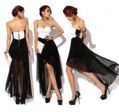 Vestido de noche juvenil blanco / negro con gasa