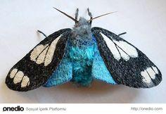 İğne İplikle Kumaşa Dokunmuş Canlısı Kadar Güzel 18 Kelebek