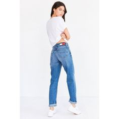Tommy Jeans For UO 90s Mid-Rise Mom Jean (€125) ❤ liked on Polyvore featuring jeans, white jeans, mid rise white jeans, 5 pocket jeans, white straight leg jeans and mid rise straight leg jeans