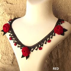 Turkish OYA Lace - Necklace - Rose  *2colors by DaisyCappadocia on Etsy