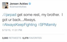 Jensen giving love and support to his brother Jared ❤️