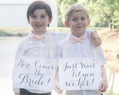 Two Wedding Signs Here Comes The Bride Just Wait Til You See | Etsy Rose Gold Ribbon, Navy Ribbon, Ribbon Colors, Funny Wedding Signs, Wedding Humor, Flower Girl Signs, Ring Bearer Signs, Second Weddings, Flower Of Life
