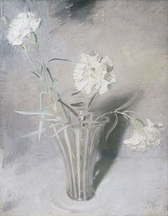 White CarnationsSir William Nicholson White Carnations circa 1924  oil on canvas signed with monogram & dated lower right 18 ½ x 14 ¾ in/ 47 x 37.5 cm