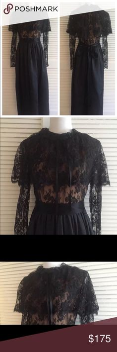 """Stunning Vintage Black Lace Gown, Black Tie Vintage Black Lace gown, ties in back, zips up back, in excellent condition, pictures Dont do this dress justice, its stunning. Bust 34"""", waist 28"""", 59"""" total length Vintage Dresses Maxi"""