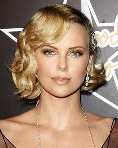 makeup: Golden bronze looks  hair: deep side part and soft waves