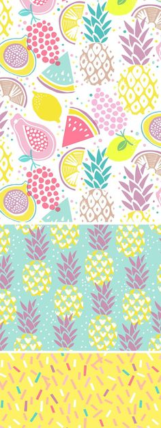 19 Ideas Fruit Pattern Wallpaper Textile Design For 2019 Kids Patterns, Summer Patterns, Textures Patterns, Print Patterns, Pattern Ideas, Pattern Print, Fruit Illustration, Pattern Illustration, Pineapple Wallpaper