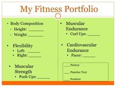 An organized way to keep Fitnessgram data together. Also allows for lessons on setting clear attainable goals for each component of fitness.