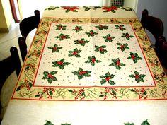 Christmas Table Cloth, Tablecloth for Christmas Days, Rustic Table Cloth, Red White Table Cloth, Modern Tablecloth,Gift For Christmas Days.