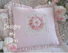 Pink  Barkcloth Repro Vintage Style Romantic Pink Metelasse Ruffled  Pillow Designs By Lynn-pink, roses, shabby, chic, ruffles, Victorian, Vintage, Lynn, Barkcloth, PINK,