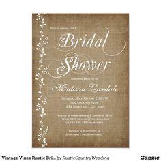 vintage vines rustic bridal shower invitations