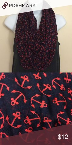LOFT Navy and Red Anchor Infinity Scarf In perfect condition. New without tags. Navy and Red Anchor print infinity scarf. Light weight and very nautical. ⚓️ LOFT Accessories Scarves & Wraps
