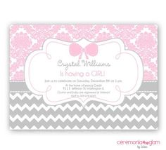 Baby+Shower+Chevron+and+pink | Baby shower girl pink damask and chevron ... | P is for PARTY.