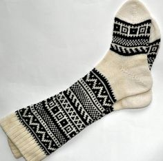 Scandinavian pattern autumn fall knit knee-high black and white wool socks CUSTOM MADE