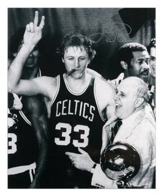 Larry Bird Signed Photo - Cigar Celebration Red Auerbach 16x20 Black White - Mounted Memories Certified by Sports Memorabilia. Save 25 Off!. $248.83. Larry Bird signed Celtics 'Cigar' celebration Black and White 16x20 photo w/NBA trophy and Red Auerbach. This was signed at an individually numbered; tamper evident hologram from Mounted Memories