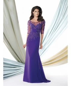 Graceful Illusion Purple Chiffon Mother Of The Bride Dress