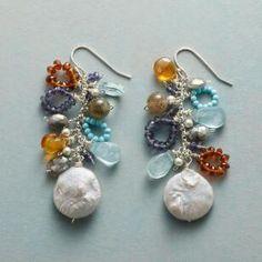 Gold Plated Pearl Star Earrings / Flower Earrings / Long Fashion Earrings / Bridal Earrings / Wedding Jewelry / Gift For Her - Custom Jewelry Ideas Bar Stud Earrings, Moon Earrings, Cluster Earrings, Gemstone Earrings, Crystal Earrings, Beaded Earrings, Earrings Handmade, Handmade Jewelry, Chandelier Earrings