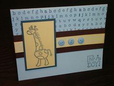 Stampin' Up baby boy giraffe card