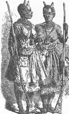 """Female officers pictured in 1851, wearing symbolic horns of office on their heads. A French Foreign Legionnaire named Bern lauded them as """"warrioresses… fight with extreme valor, always ahead of the other troops. They are outstandingly brave … well trained for combat and very disciplined."""" A French Marine, Henri Morienval, thought them """"remarkable for their courage and their ferocity… flung themselves on our bayonets with prodigious bravery."""""""