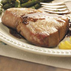 Balsamic-Glazed Tuna Steaks Recipe -Simple to prepare but full of flavor, these tuna steaks have a slight sweetness, thanks to the delicious balsamic glaze. Ready in minutes, they're perfect for hectic days. —Laura McDowell Lake Villa, Illinois