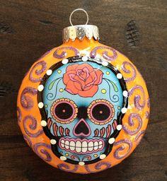 "E. BARNES Day of The Dead Sugar Skull 3"" Orange with Purple Glitter Swirls Hand Painted Glass Ornament"
