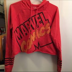 $10 SALE Marvel Comics Long Sleeve Crop Top This is a size Small to Medium. This is kind of short, but very cute for the right person! || color is a tangerine red color Tops Crop Tops