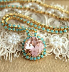 Crystal+turquoise+and+pink+Swarovski+necklaceBridal+by+iloniti,+$78.00