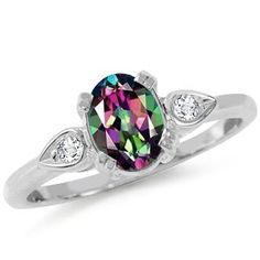 Mystic Fire & White Topaz 925 Sterling Silver Ring