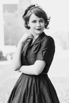 Charming czech actress Jenovefa Bokova wearing vintage retro dress by Lazy Eye Prague.