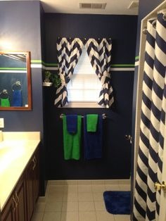Blue, green and white bathroom