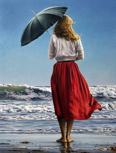 Paul Kelley's sensual art has a romantic appeal, from his figurative painting, fashion artwork, and nude art prints, to his dance artwork and Nova Scotia art. Umbrella Art, Under My Umbrella, Umbrella Painting, Paul Kelly, Fashion Artwork, Edouard Manet, Canadian Artists, Canadian Painters, Figure Painting