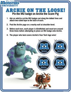NEW Monsters University Activity Sheets Available To Download (Including An ID Card!) | Lady and the Blog