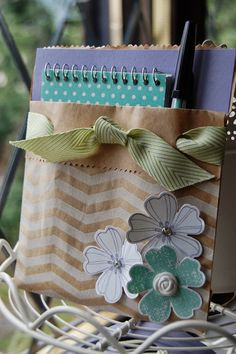 Stampin Up Flower shop Notepad Holder made with Tag a bags by Kerry