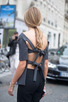 Chiara Ferragni's daring Dior top had striking tie-up detail on the back - Paris Fall 2016 Couture Fashion Week street style - July 2016 -HarpersBAZAAR.co.uk   - HarpersBAZAAR.co.uk