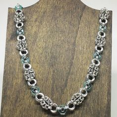 Delicate  Chainmaille  Necklace with Aquamarine by DaisiesChain