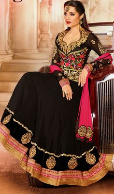 Celina Jaitley Black Embroidered Georgette Long Anarkali
