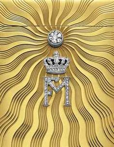 AN EARLY 20TH CENTURY ROYAL PRESENTATION CIGARETTE CASE, BY CARTIER  The hinged rounded rectangular case, carved with a sunburst motif to the diamond with the crown and intials 'FM' in 18kt gold. Presented to the Earl of Kintore by the Prince of Bavaria in 1910.  Via Christie's NY; sale price $68,750 (pre-sale estimate $18,000).