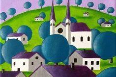 Tableau paysage moderne peint à la main - paysage avec arbres bleus et village