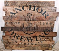 Rustic Anchor Brewing Company Wood Sign, Hand Painted Beer Logo on ...