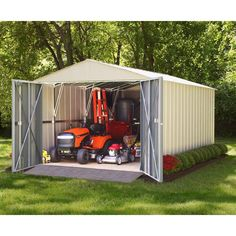 Arrow Commander 10 ft. W x 20 ft. D White Hot-Dipped Galvanized Metal Storage Shed-CHD1020 - The Home Depot Steel Storage Sheds, Steel Sheds, Shed Storage, Built In Storage, Storage Building Kits, Building A Shed, Shed Base, Clutter Solutions, Metal Shed