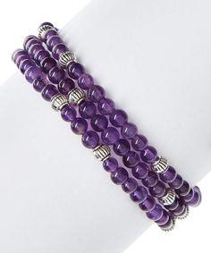 Amethyst & Silvertone Beaded Stretch Bracelet Set  #ad