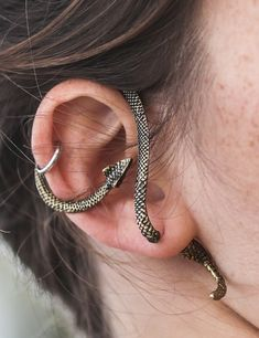 Fake gauge Cobra Snake Earring by  pearl reef