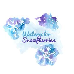 Watercolor snowflakes Clip art Clipart winter holiday snow flakes blue Digital Download frozen snow Images Digital Download PNG 300 DPI