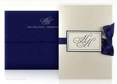 classic, monogram, letterpress, invitation, wedding, satin ribbon, folio
