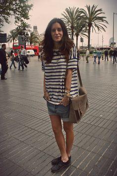 #Striped t-shirt #jean shorts #Satchel bag by Gala Gonzalez