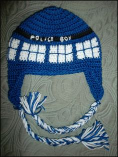 Crocheted Dr. Who Tardis hat